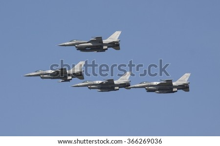 POZNAN, POLAND - JULY 18, 2015:F-16 Fighting Falcon is a single-engine multirole fighter aircraft originally developed by General  - stock photo