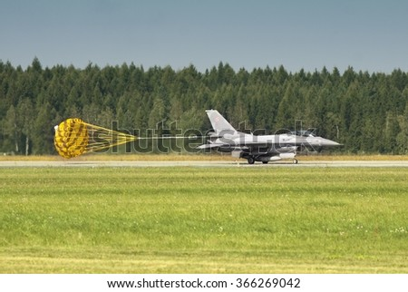 POZNAN, POLAND - JULY 18, 2015:F-16 Fighting Falcon is a single-engine multirole fighter aircraft originally developed by General