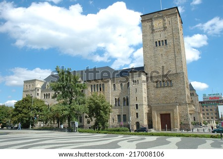 Poznan, Poland - July 13, 2014: Unidentified people at emperor's castle in Poznan, Poland