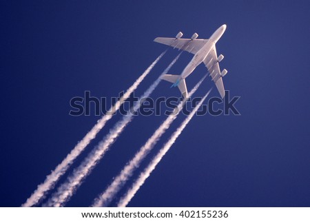 POZNAN, POLAND - MARCH 9: Korean Air Airbus A380 (registration HL7613) above Poznan. March 9, 2015. - stock photo