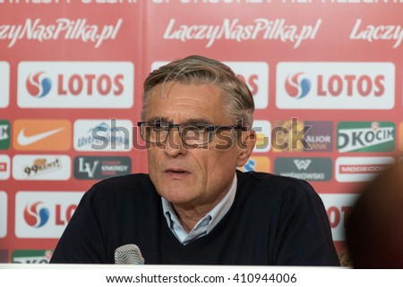 POZNAN, POLAND - MARCH 23, 2016: Manager Adam Nawalka (Poland) during press conference after friendly football match beetween Poland and Serbia. - stock photo