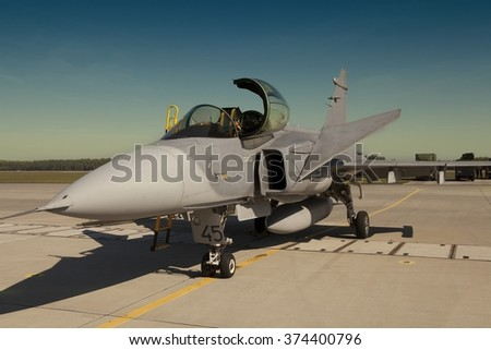 POZNAN, POLAND-MAY 30, 2015: JAS 39 Gripen of Sweden on display in Poznan. Krzesiny air base. - stock photo