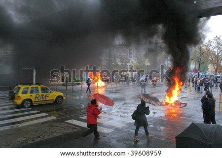 POZNAN, POLAND - OCTOBER 23: Polish 'Solidarnosc' workers from H.Cegielski factory and shipyards protests over pay, unemployment and recession on October 23, 2009 in Poznan, Poland - stock photo