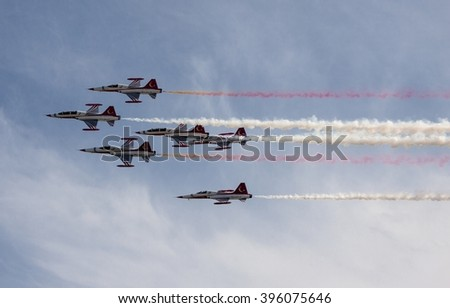 POZNAN, POLAND -SEP 23, 2015: The Turkish Stars are the aerobatic demonstration team of the Turkish Air Force and the national aerobatics team of Turkey.
