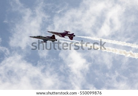 POZNAN, POLAND -SEP 4, 2016: The Turkish Stars are the aerobatic demonstration team of the Turkish Air Force and the national aerobatics team of Turkey.