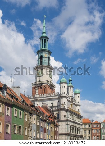 Poznan Town Hall or Ratusz is a building in the city of Poznan in western Poland, located in the Old Market Square (Stary Rynek) in the centre of the Old Town neighbourhood. - stock photo