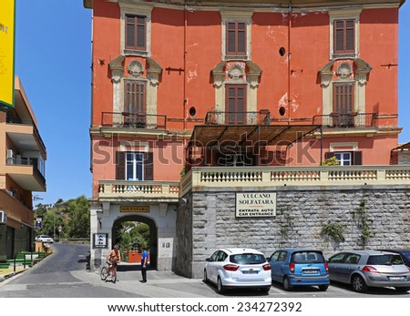POZZUOLI, ITALY - JUNE 23: Solfatara Volcano in Pozzuoli on JUNE 23, 2014. Entrance to Campi Flegrei volcanic area which still emits jets of steam and sulfur near Naples in Pozzuoli, Italy. - stock photo