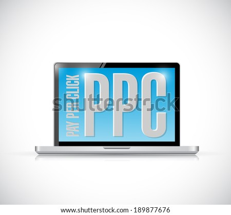 ppc message on a laptop. illustration design over a white background - stock photo