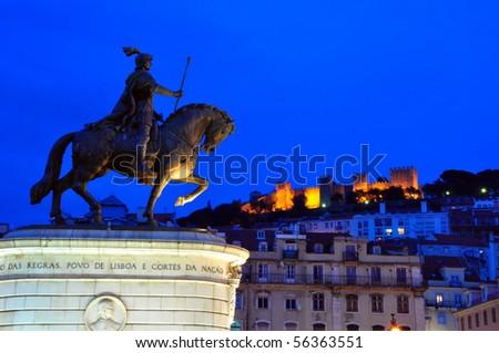 Praca Da Figuera with Castelo de Sao Jorge at night. Lisbon, Portugal - stock photo