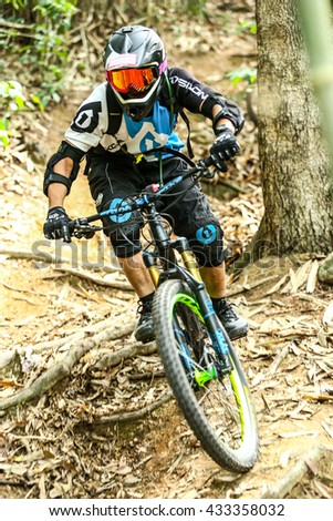 Prachinburi, Thailand -June 4-5th, 2016: Thailand Enduro Series mountain bike races at Prachinburi, which combines cross-country mountain bike downhill,Thailand Enduro Series 2016 Round 1