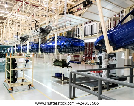 PRACHINBURI, Thailand - May 12 , 2016: Honda Automobile Thailand assembly line of car body parts at Prachinburi plant in Rojana Industrial Park.