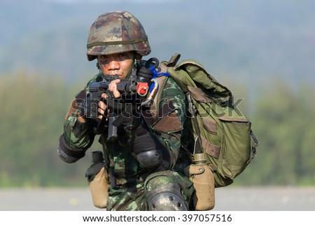 PRACHUABKHIRIKHAN - JANUARY 22, 2016: Military endurance training on 22 January , 2016 in Prachuabkhirikhan, Thailand. - stock photo