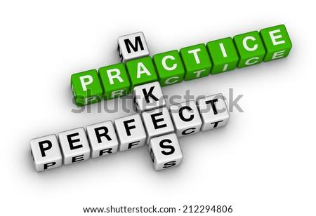 practice makes perfect crossword puzzle - stock photo