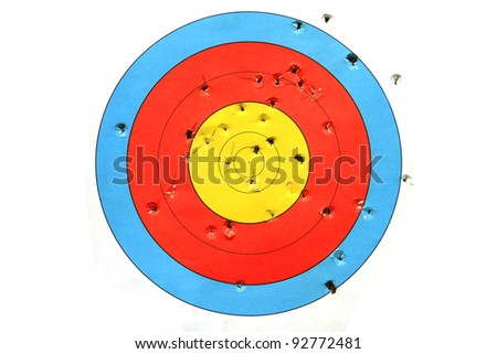 practice target used for shooting with bullet holes in it. - stock photo