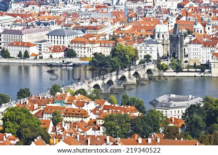 Prague, a top view of the town and Charles bridge - stock photo