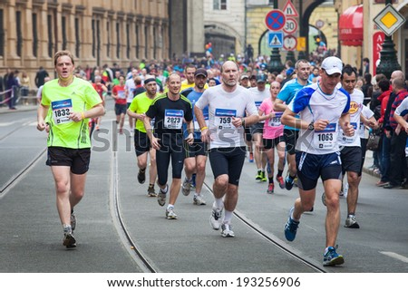 PRAGUE - APRIL 5, 2014, the runners on the Half Marathon Praha - stock photo