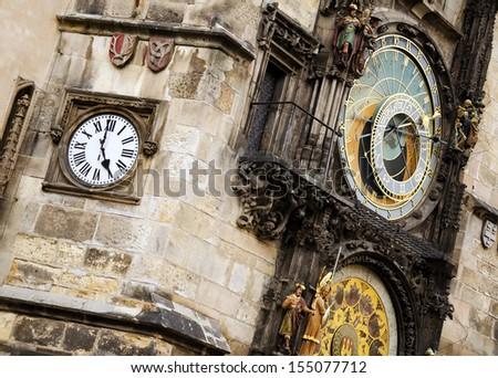 Prague astronomical clock. - stock photo