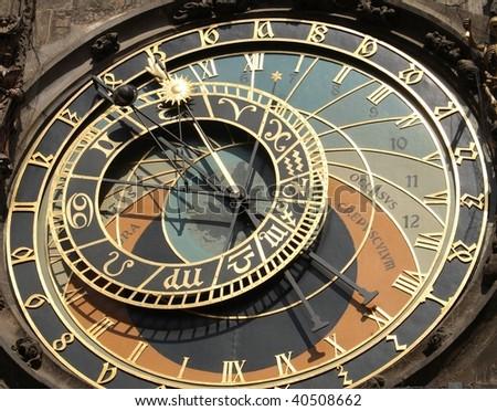 Prague - astronomical clock - stock photo