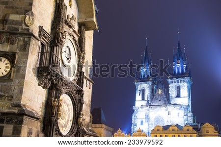 Prague Astronomical Clock and Church of Our Lady before Tyn, night, Czech Republic - stock photo