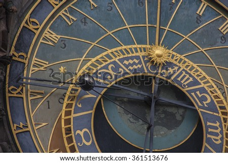 Prague astronomical clock left side detail