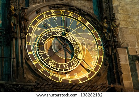 Prague Astronomical Clock, Orloj,  in the Old Town of Prague - stock photo