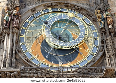 Prague Astronomical Clock (Orloj) in the Old Town of Prague, Czech Republic.