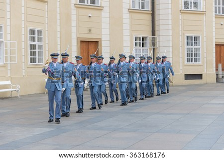 PRAGUE, AUGUST 5: Guard at Prague Castle. At 12 noon of every day is possible to watch the changing of the guards ceremony on august 5, 2015 in Prague - Czech Republic