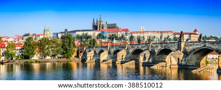 Prague, Bohemia, Czech Republic. Hradcany is the Praha Castle with churches, chapels, halls and towers from every period of its history. - stock photo
