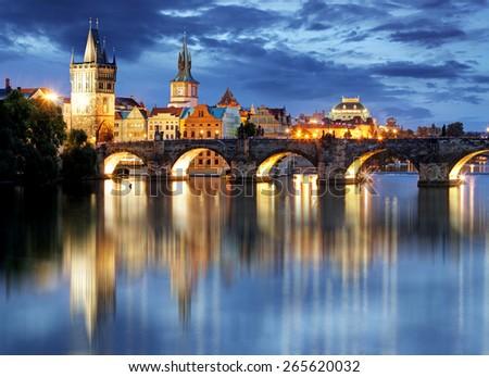 Prague bridge at night - stock photo