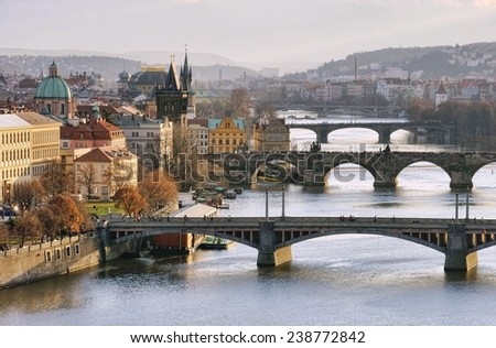 Prague bridges aerial view  - stock photo