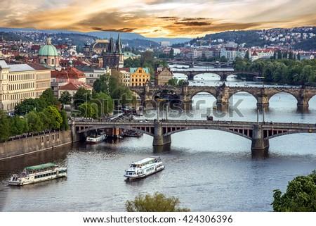 Prague bridges, city sunset panorama, Czech Republic - stock photo