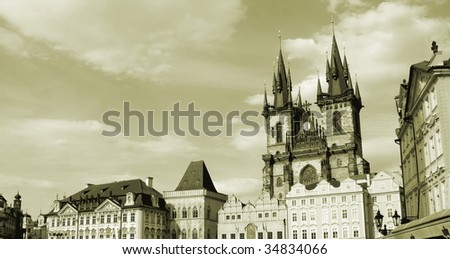 Prague, Capital Of Chech Republic. Famous Tyn Cathedral in Old Town Square