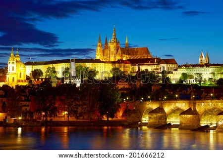 Prague Castle after sunset. Czech republic - stock photo