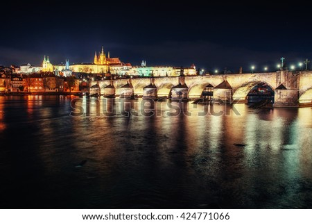 Prague Castle and Charles Bridge in the night.