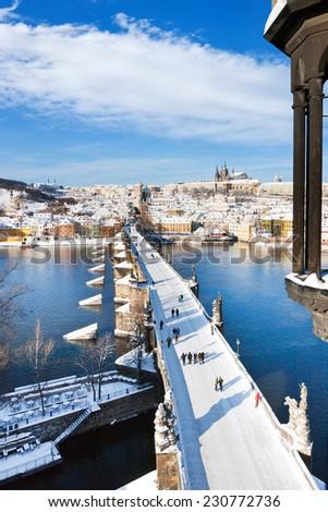 Prague castle and Charles bridge, Prague (UNESCO), Czech republic - stock photo