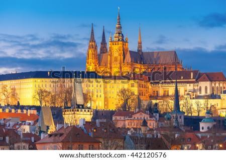 Prague Castle and Mala Strana or Little Quarter during twilight blue hour, Prague, Czech Republic. - stock photo