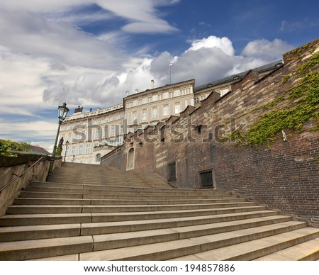 Prague Castle and New Castle stairs - stock photo