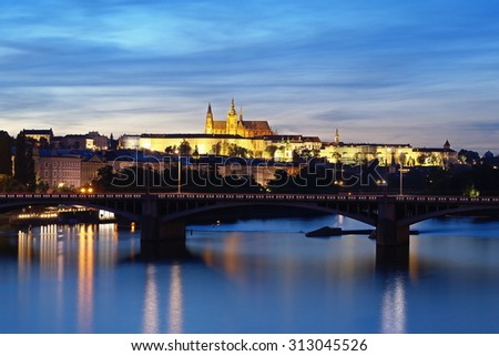 Prague Castle in the summer evening, view from Palacky Bridge