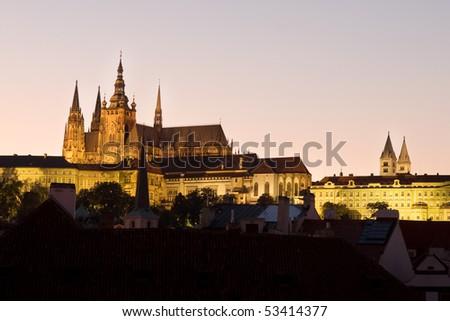 Prague Castle view at twilight - stock photo
