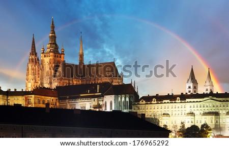 Prague Castle with rainbow - Czech republic - stock photo