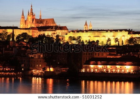Prague cathedral, castle and Vitava river after sunset