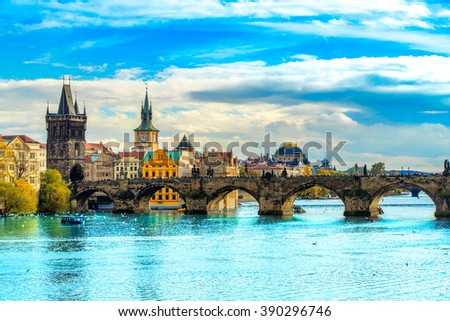 Prague, Charles Bridge and Old Townl. Czech Republic - stock photo