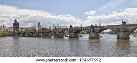 Prague Charles bridge, bridge tower and Old City