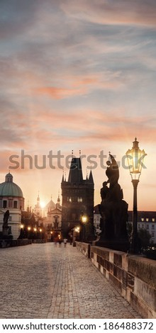 Prague, Charles Bridge early morning, tinted image - stock photo