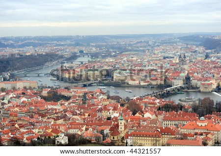 Prague cityscape from Petrin look tower - stock photo