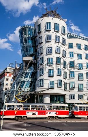 Prague, Czech-August 07, dancing house in Prague, August 07.2015 in Prague, Czech Republic - stock photo