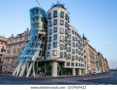 Prague, Czech-August 11, the Dancing House in Prague, August 11.2015 in Prague, Czech Republic - stock photo