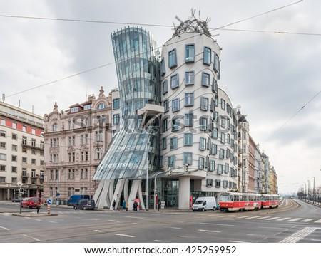 PRAGUE, CZECH - MARCH 11, 2016: Dancing House. Modern Architecture in Prague, Czech. - stock photo