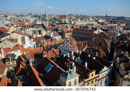 PRAGUE, CZECH REP. - AUGUST 15:Old city on August 15, 2015 at Prague, Czech Rep. The old city of Prague is full of palaces and listed as a UNESCO World Heritage site.