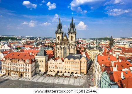 Prague, Czech Republic. Aerial view over Church of Our Lady before Tyn at Old Town square (Starometska) in Praha. - stock photo